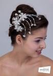 Coronita de mireasa cu cristale Swarovski si perle, model floral